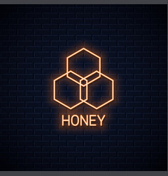 honey comb neon banner organic honey neon sign vector image