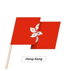 Hong Kong Ribbon Waving Flag Isolated on White vector