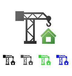 house building crane flat gradient icon vector image