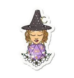 human witch with natural twenty dice roll grunge vector image