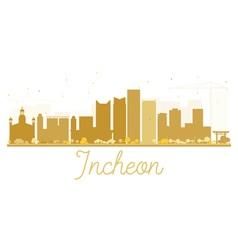 Incheon City skyline golden silhouette vector