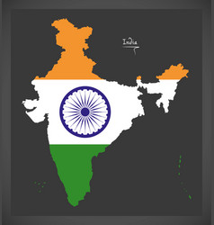 India map with indian national flag vector