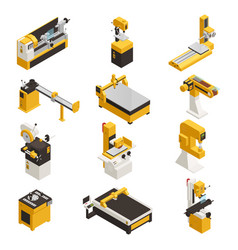 Industrial machinery icons set vector