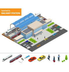 Isometric infographic element railway vector