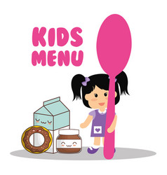 Kids menu girl holding spoon food vector