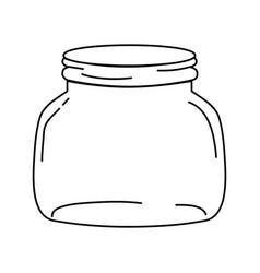 Line small and wide mason glass preserve vector