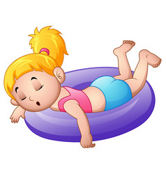 little girl sleeping above an inflatable ring vector image