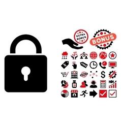 Lock Flat Icon with Bonus vector