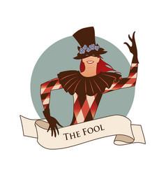Major arcana emblem tarot card the fool joker vector