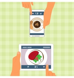 Man and woman and their food placed on gadgets vector