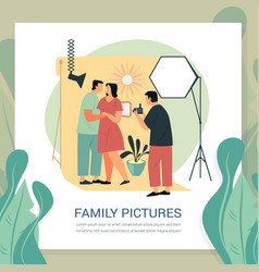 Man at photoshoot for married couple family photo vector