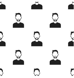 Man with beard icon black single avatarpeaople vector