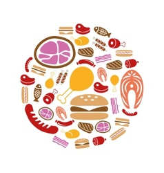 meat icons in circle vector image