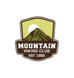 mountain hiking club est 1995 design badge vector image