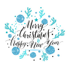 New year lettering hand drawn christmas greeting vector
