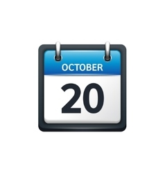 October 20 Calendar icon flat vector image