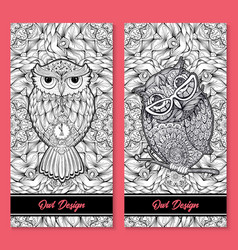 owl birds set isolated with clock face on stomach vector image