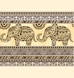 Pattern with ethnic patterns and elephant vector
