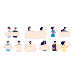 people with placards men and women holding blank vector image