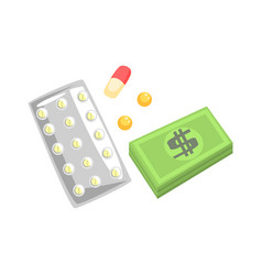 Pills capsules of medicament and money colorful vector
