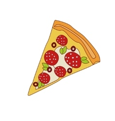 Pizza Slice With Pepperoni vector