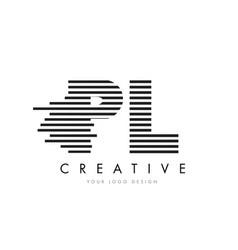 pl p l zebra letter logo design with black and vector image