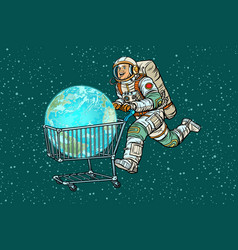 Planet earth bought by astronaut shopping cart vector
