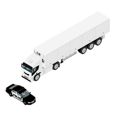 police car stopped refrigerated cargo truck vector image