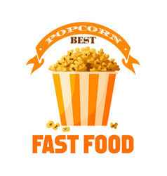 Popcorn fast food snack isolated icon vector