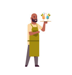 Professional waiter holding serving tray with vector