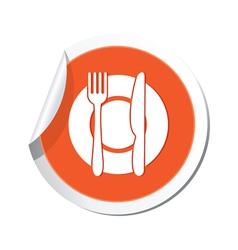 restaurant icon orange sticker vector image
