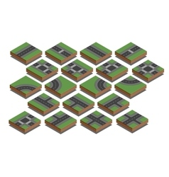 Road elements city map creation kit isometric vector