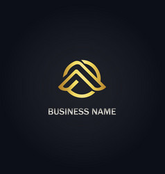 round sign a gold logo vector image