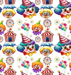 Seamless background with clowns and circus vector