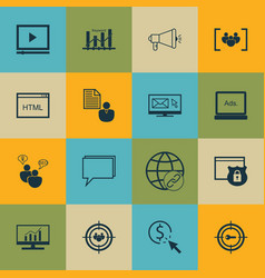 Set 16 advertising icons includes keyword vector