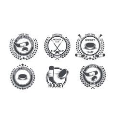 set hockey icon old style logo vector image
