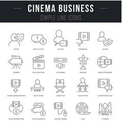 Set linear icons cinema business vector