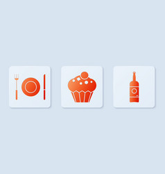 set muffin plate fork and knife and beer bottle vector image