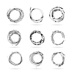 Set of hand drawn scribble isolated circles vector image