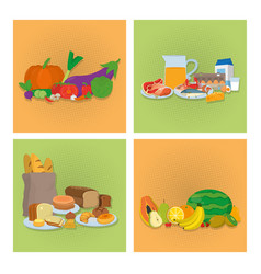 set of healthy food icons vector image