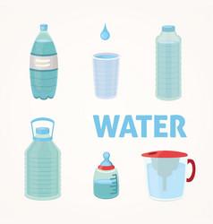 set plastic bottle of pure water different bottle vector image