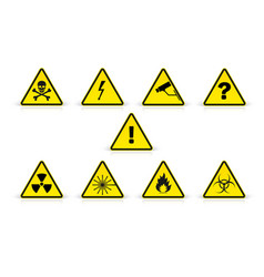 set warning sign in yellow triangles isolated vector image