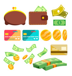 shopping icons wallet money credit cart vector image