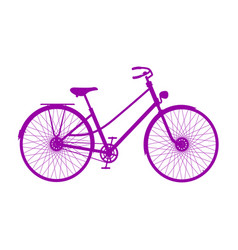 Silhouette of retro bicycle in purple design vector