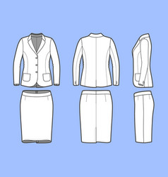 simple outline drawing of a blazer and skirt vector image