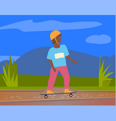 skateboarder in protective helmet riding outdoors vector image