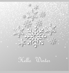 snowing and snowflakes with shadow and text vector image