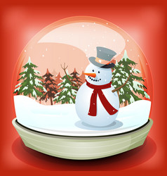Snowman in winter snowball vector