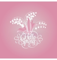 spring background with snowdrops hello vector image