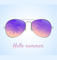 sunglasses with palms reflection vector image
